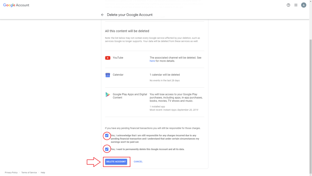 Delete Gmail account with Data