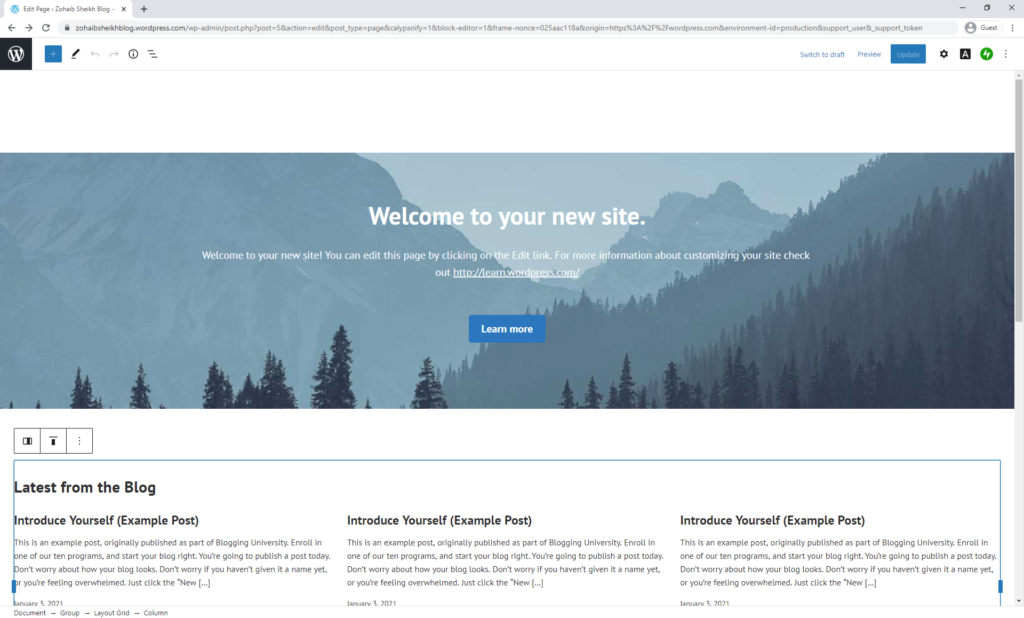 Free WordPress Blog Homepage
