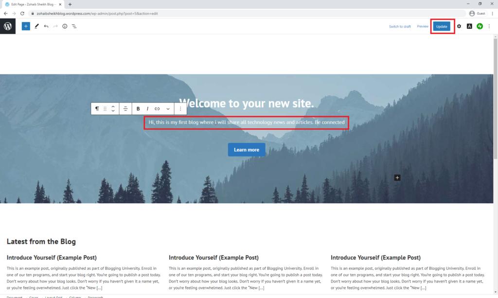 Homepage Edit
